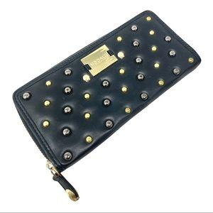 NWOT Mondalu Black Lambs-Leather Studded Wallet